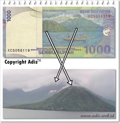 Denger-denger gambar laut dan pulau di bagian belakang uang seribu di